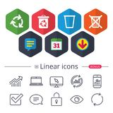 Recycle bin icons. Reuse or reduce symbol. Calendar, Speech bubble and Download signs. Recycle bin icons. Reuse or reduce symbols. Trash can and recycling signs Stock Photo