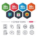 Sale discount icons. Special offer price signs. Calendar, Speech bubble and Download signs. Sale discount icons. Special offer price signs. 20, 30, 40 and 50 Stock Illustration