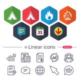 Tourist camping tent signs. Fire flame icons. Calendar, Speech bubble and Download signs. Tourist camping tent icons. Fire flame sign symbols. Chat, Report Stock Photography
