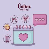 Online dating design. Calendar and speech bubble  with online dating related icons over  purple background, colorful design. vector illustration Royalty Free Stock Photo