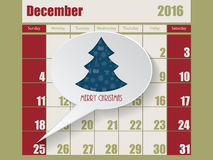 Calendar with speech bubble showing christmas Royalty Free Stock Images
