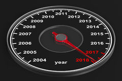 Calendar from speedometer on black background. 3D illustration Royalty Free Stock Image