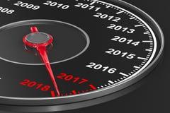 Calendar from speedometer on black background. 3D illustration Stock Photos