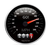 Calendar 2017 in speedometer car. 2017 year Calendar speedometer car. Vector illustration Stock Image