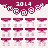 Calendar of 2014 with spiral design Royalty Free Stock Images