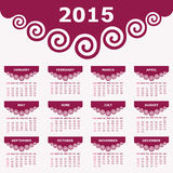 Calendar of 2015 with spiral design. Vector illustration Royalty Free Stock Photography