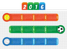 Calendar 2016. Sport theme Calendar for year 2016 Stock Photo