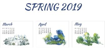 Calendar 2019 spring, forest in different season on white background stock photography