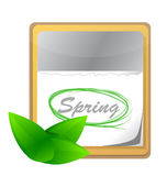 Calendar with spring page and green leaf Stock Photography