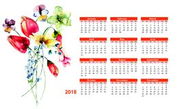 2018 calendar with spring wild flowers. Watercolor illustration Royalty Free Stock Photo