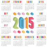Calendar 2015. Square calendar for 2015 with bright colors, isolated on white Royalty Free Illustration