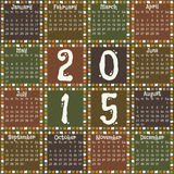 Calendar 2015. Calendar for 2015 in square design and earth tone colors Royalty Free Illustration
