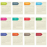 Calendar for 2014. In square design with tabs isolated on white, eps10 format vector illustration