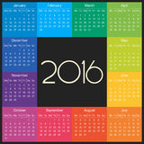 2016 Calendar square illustration vector. 2016 Calendar square illustration. Vector template of colorful 2016 calendar vector illustration