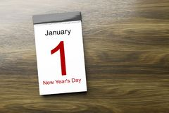 Calendar the 1st of January New Year's Day. 3d illustration of a calendar the 1st of January New Year's Day vector illustration