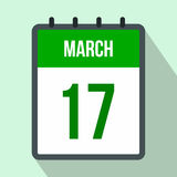 Calendar with St. Patricks Day date flat icon Royalty Free Stock Images