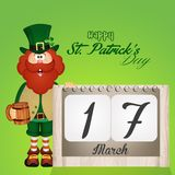 Calendar for St. Patricks day. Funny illustration of calendar for St. Patricks day calendar man with and hat Stock Images