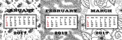 Calendar for the 1st quarter 2017. January, February and March on the background painted by hand. Calendar for the 1st quarter 2017.black and white calendar for Stock Illustration