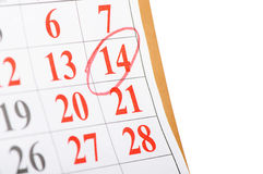 Calendar with St. Valentine date Stock Photography