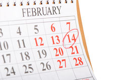 Calendar with St. Valentine date Royalty Free Stock Photo