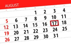 Calendar stadsplaneraren för månaden, stopptiddag av veckan, august 2018, 17, fredag Royaltyfri Illustrationer