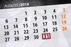 Calendar stadsplaneraren för månaden, stopptiddag av veckan, august 2018, 31, fredag royaltyfria bilder