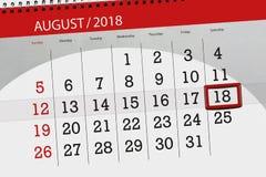 Calendar stadsplaneraren för månaden, stopptiddag av veckan, august 2018, 18, lördag Stock Illustrationer