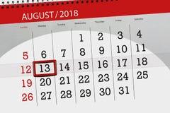 Calendar stadsplaneraren för månaden, stopptiddag av veckan, august 2018, 13, måndag Royaltyfri Illustrationer