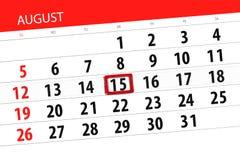 Calendar stadsplaneraren för månaden, stopptiddag av veckan, august 2018, 15, onsdag Arkivbilder