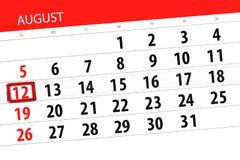 Calendar stadsplaneraren för månaden, stopptiddag av veckan, august 2018, 12, söndag Arkivbild