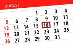 Calendar stadsplaneraren för månaden, stopptiddag av veckan, august 2018, 16, torsdag Arkivfoto