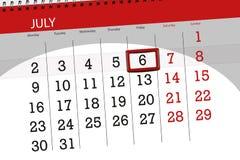 Calendar stadsplaneraren för månaden, stopptiddagen av veckan, fredag, 2018 juli 6 Royaltyfri Bild