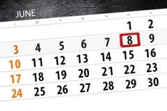 Calendar stadsplaneraren för månaden, stopptiddagen av veckan, fredag, 2018 juni 8 Arkivfoton