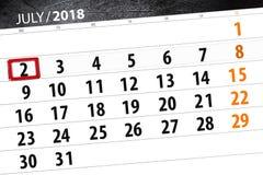 Calendar stadsplaneraren för månaden, stopptiddagen av veckan, måndag, 2018 juli 2 Arkivfoto
