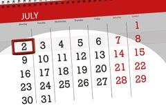 Calendar stadsplaneraren för månaden, stopptiddagen av veckan, måndag, 2018 juli 2 Arkivbilder