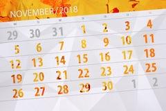Calendar stadsplaneraren för månaden, stopptiddagen av veckan 2018 november royaltyfri illustrationer