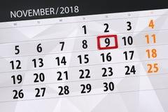 Calendar stadsplaneraren för månaden, stopptiddagen av veckan 2018 november, 9, fredag vektor illustrationer
