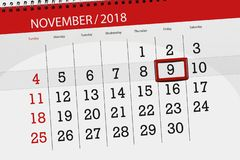 Calendar stadsplaneraren för månaden, stopptiddagen av veckan 2018 november, 9, fredag royaltyfri illustrationer