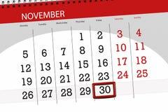Calendar stadsplaneraren för månaden, stopptiddagen av veckan 2018 november, 30, fredag stock illustrationer