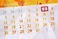 Calendar stadsplaneraren för månaden, stopptiddagen av veckan 2018 november, 3, lördag vektor illustrationer