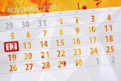 Calendar stadsplaneraren för månaden, stopptiddagen av veckan 2018 november, 12, måndag royaltyfri illustrationer
