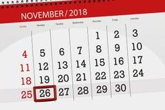 Calendar stadsplaneraren för månaden, stopptiddagen av veckan 2018 november, 26, måndag royaltyfri illustrationer