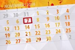 Calendar stadsplaneraren för månaden, stopptiddagen av veckan 2018 november, 7, onsdag royaltyfri illustrationer