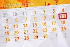 Calendar stadsplaneraren för månaden, stopptiddagen av veckan 2018 november, 11, söndag royaltyfri illustrationer