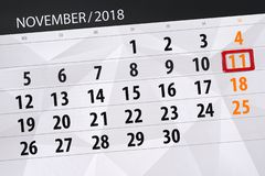Calendar stadsplaneraren för månaden, stopptiddagen av veckan 2018 november, 11, söndag vektor illustrationer