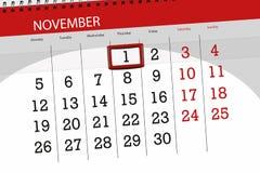 Calendar stadsplaneraren för månaden, stopptiddagen av veckan 2018 november, 1, torsdag royaltyfri illustrationer