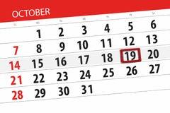 Calendar stadsplaneraren för månaden, stopptiddagen av veckan 2018 oktober, 19, fredag stock illustrationer