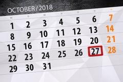 Calendar stadsplaneraren för månaden, stopptiddagen av veckan 2018 oktober, 27, lördag vektor illustrationer