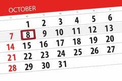 Calendar stadsplaneraren för månaden, stopptiddagen av veckan 2018 oktober, 8, måndag royaltyfri illustrationer