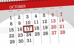 Calendar stadsplaneraren för månaden, stopptiddagen av veckan 2018 oktober, 17, onsdag stock illustrationer